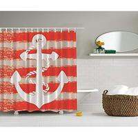 Vixm Nautical Maritime Shower Curtain Coastal Decor by Vintage Seascape Boat Anchor with Rope Stripes Art Fabric Bath Curtains