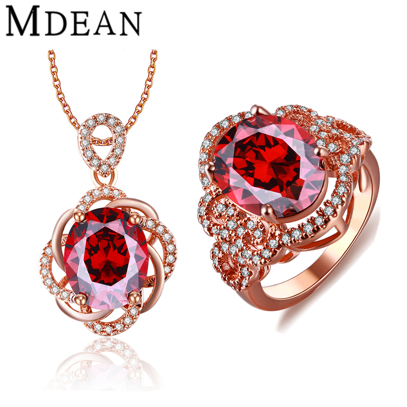 MDEAN Rose Gold Plated Wedding Jewelry Sets Red Stone AAA Zircon Engagement Rings Pendant fashion accessories