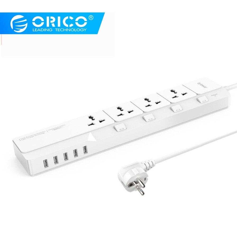 ORICO Smart USB multiprise Home Office parasurtenseur 4 prises secteur avec 5 Ports chargeur USB câble 1.5 M prise EU/US/UK
