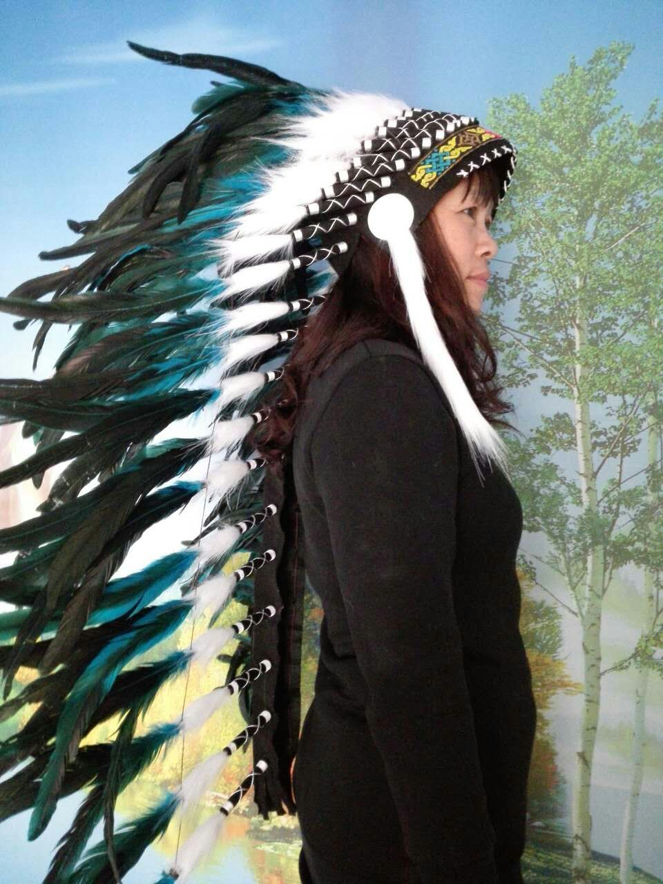 36 Inch Turquoise Feather Headdress Feather Headpiece Feather Costume Feather Hat Party Supply