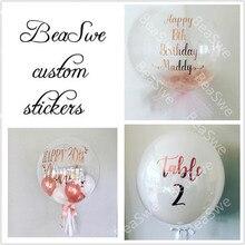 Pegatina personalizada de oro rosa para boda, fiesta de cumpleaños para Baby shower, nombre DIY, traje de Día de San Valentín para Globo de 18/24 pulgadas, 1 unidad