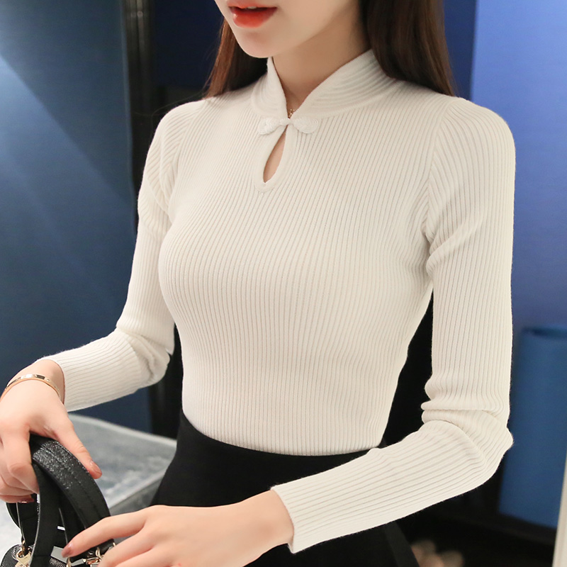 2018 Winter Korean Large Code Thickening Sleeve Head Loose Shirt Collar Half Female Pullovers