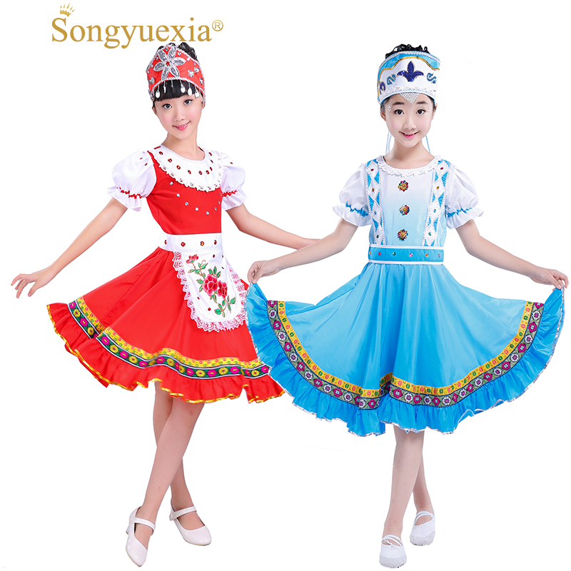 049b2e0f4 Songyuexia Children Russia Nation Performance Clothing Modern Stage Show  Costumes Child Princess Skirt Party dance Dress