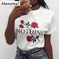 Harajuku Cartas Rose Impreso Top de la Camiseta Femenina Más la Camiseta del Tamaño camisa de Las Mujeres 2017 de Manga Corta Camiseta de Algodón Camiseta Femme C151