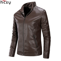 HCXY 2019 Men's Autobike Faux Leather Jackets Men Coats Man Outwear PU Leather Male Coat High quality Standing collar Zipper