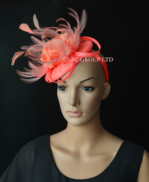 09e1c83851bae Coral pink orange Sinamay fascinator hat with handmade flowers feathers for  Melbourne cup