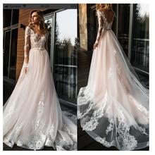Elegancka koronka suknia ślubna Vestidos de novia 2020 prosta linia suknia ślubna dekolt Sexy romantyczna długość podłogi suknie ślubne