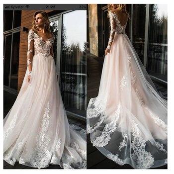 Elegant Lace Wedding Dress Vestidos de novia 2020 Simple A Line Bridal V-Neck Sexy Romantic Floor Length Gowns - discount item  47% OFF Wedding Dresses