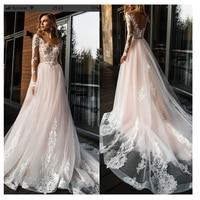 Elegant Lace Wedding Dress Vestidos de novia 2019 Simple A Line Bridal Dress V Neck Sexy Romantic Floor Length Wedding Gowns