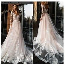 Zarif dantel düğün elbisesi Vestidos de novia 2020 basit bir çizgi gelin elbise v yaka seksi romantik kat uzunluk gelinlikler