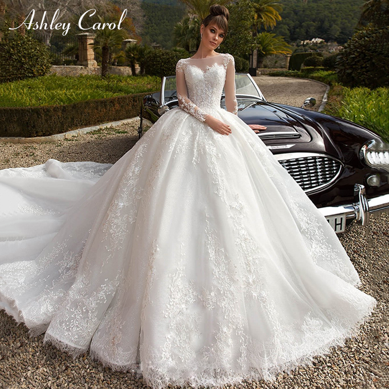 Ashley Carol O-Neck Long Sleeve Ball Gown Wedding Dresses 2019 Luxury Royal Train Lace Princess Dream Vintage Wedding Gowns