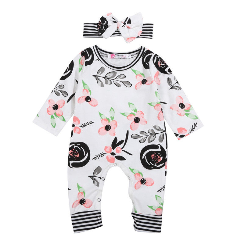 Flower Newborn Baby Jumpsuit Infant Baby Girls Floral Cotton Blend Romper Long Sleeve Jumpsuit Striped Headwear Outfits Clothes my beauty diary 10 page 3