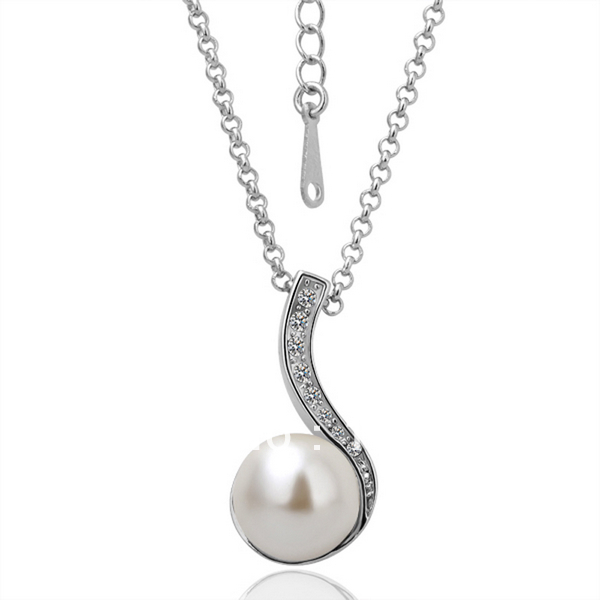 82bf4281f3e73 US $5.09  LN048 White Gold / White Gold Color Items Rhinestone Pave  Simulated Pearl Ball Pendant Necklace Women Jewelry Gift Accessory-in  Pendant ...
