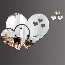 3D Mirror Wall Stickers Love Heart Wallpaper Art DIY Home Decal Room Mural Decor