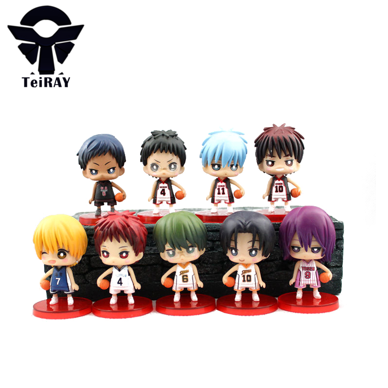 9pcs set Kuroko No Basket Q Version Figures with Basketball 7Cm Japan Anime Pvc Action Figures Kids Hot Toys for Children Boys fundamentals of physics extended 9th edition international student version with wileyplus set