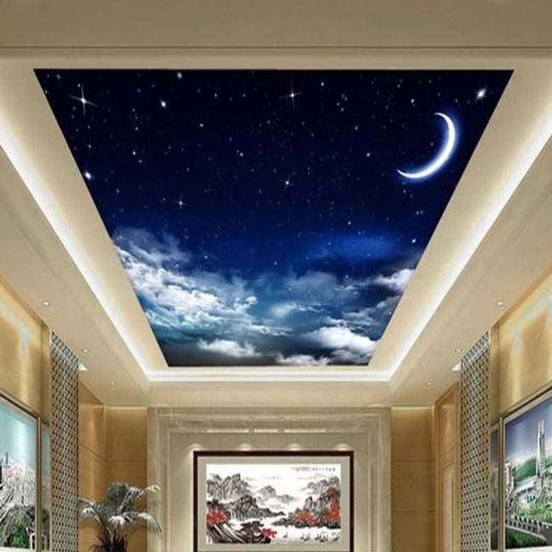 Custom 3D Photo Wallpaper Starry Sky Ceiling Murals Wall Covering ...