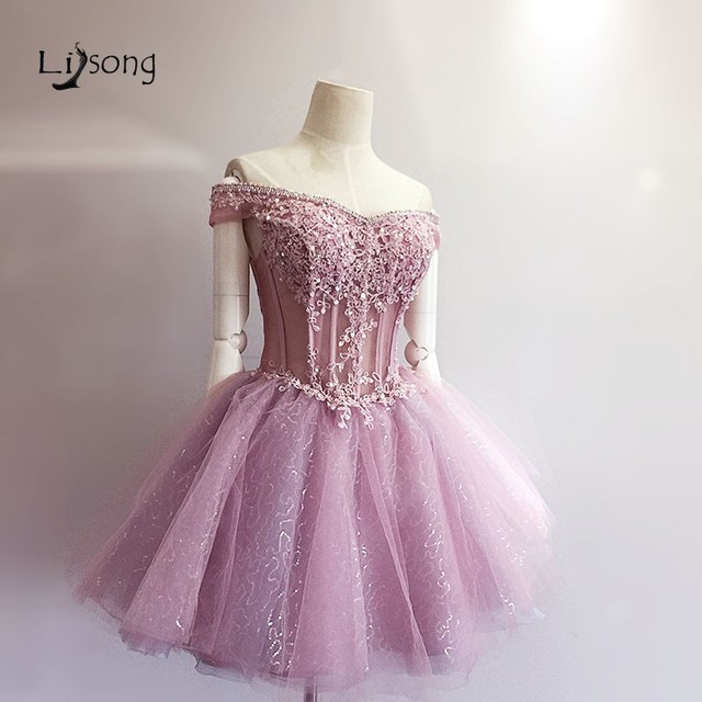Dusty Pink Princess Mini Ball Gown Girl Homecoming Dress Prom Party ...