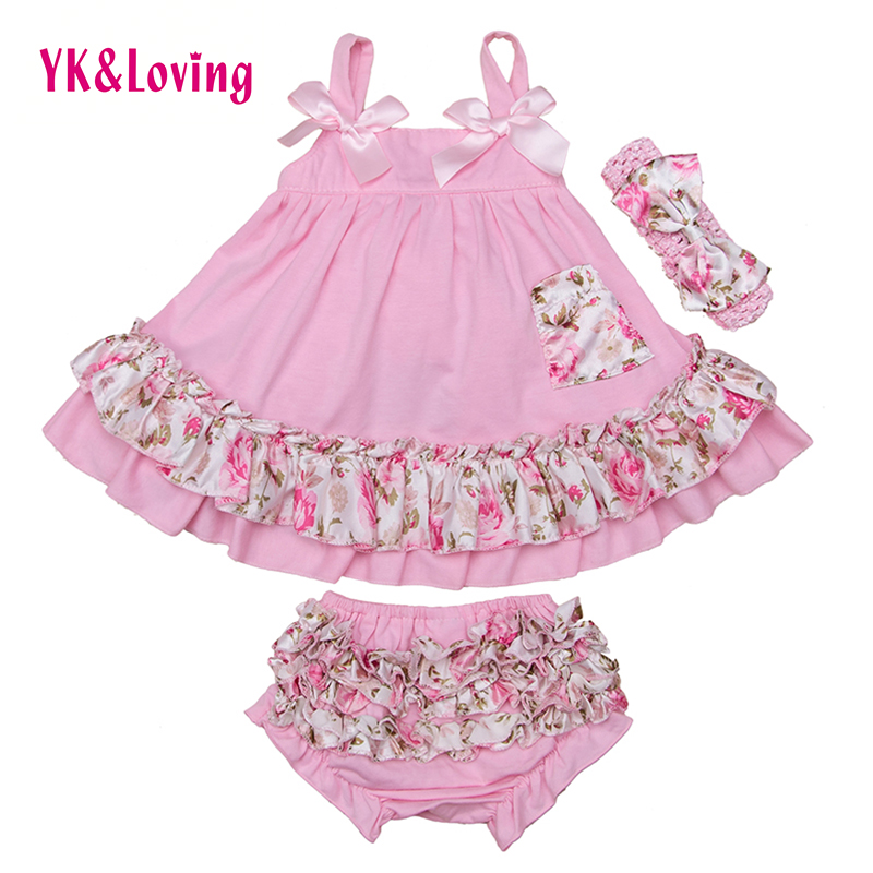 Flower Print Girls Swing Top Set Fashion Baby Clothing Set Sling Ruffle Bloomers and Headband 3pcs/set 2016 Hot Kids Clothes