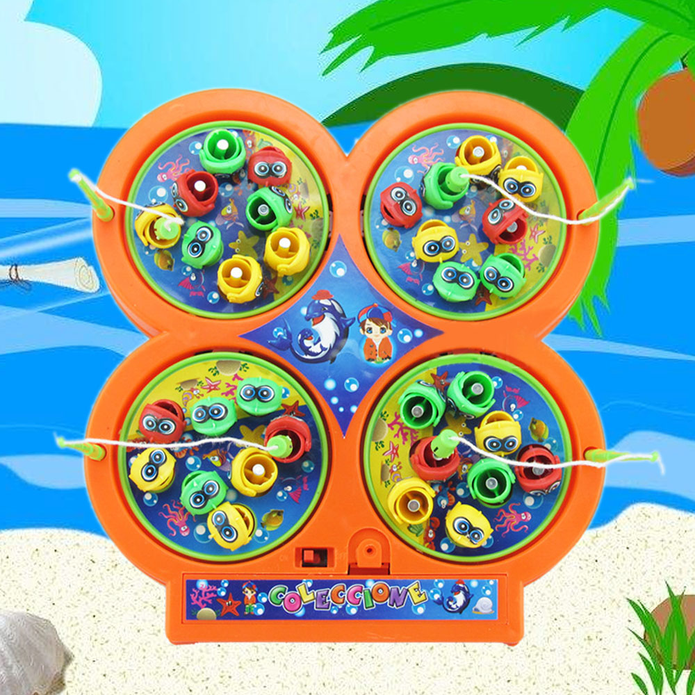 Electronic Mini Rotating Fishing Game Toy Set Magnetic Fish Musical Toy for Children Over 3 Years Random Color