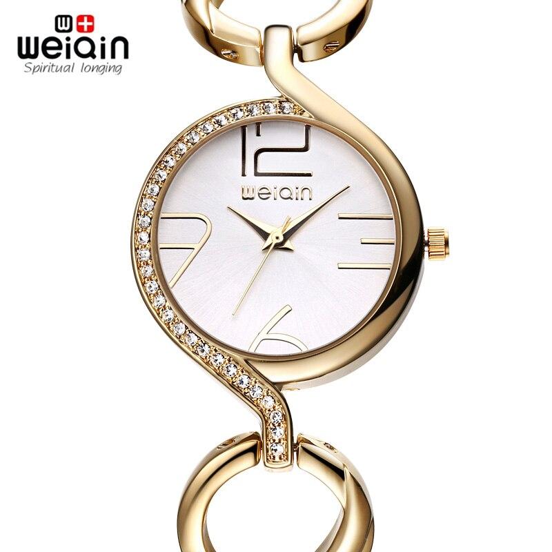 WEIQIN Rhinestone Bezel Gold Skatīties sievietes kvarca-Watcn Analogās modes pulksteņi Luxury Brand relojes mujer 2019 relogios feminino