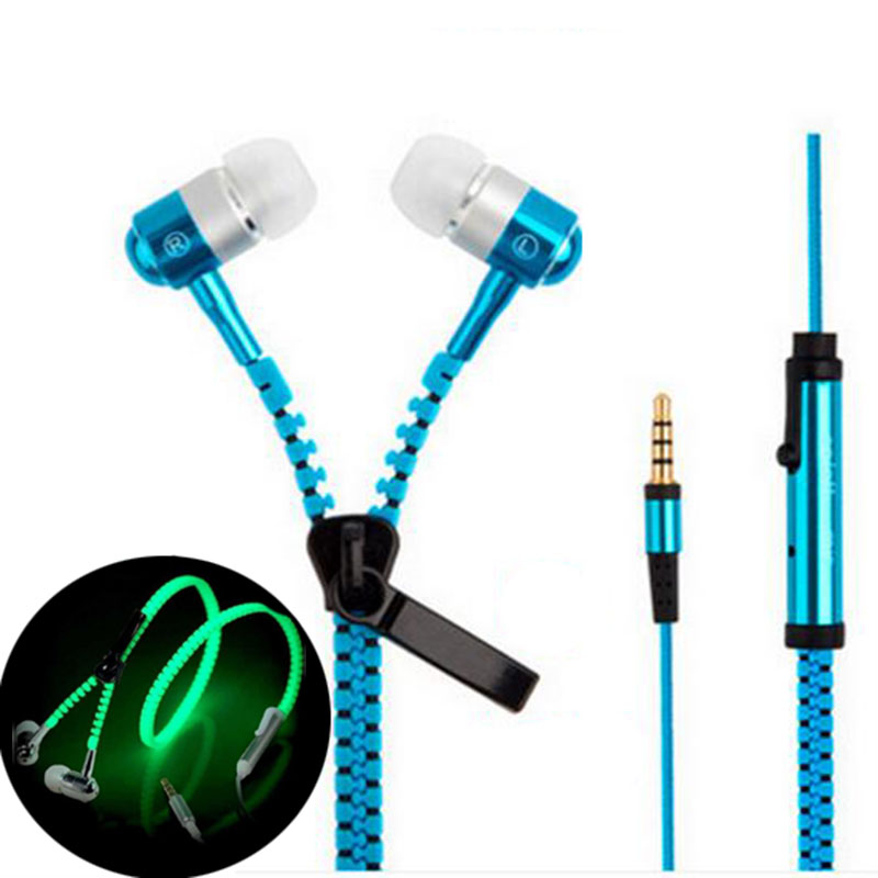 6 glow color de auriculares auriculares auriculares cremallera de metal luminoso