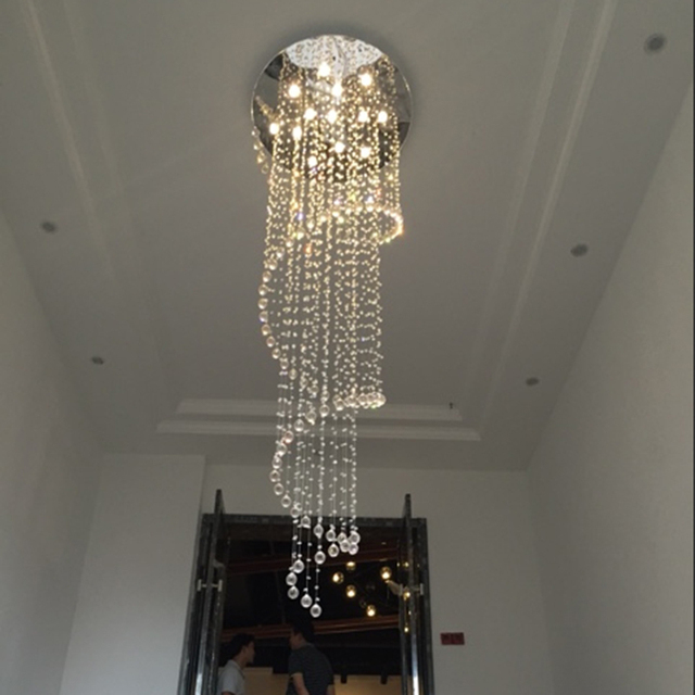 Free shipping luxury spiral design modern crystal chandelier champagne lustre cristal led lamp dia80h250cm