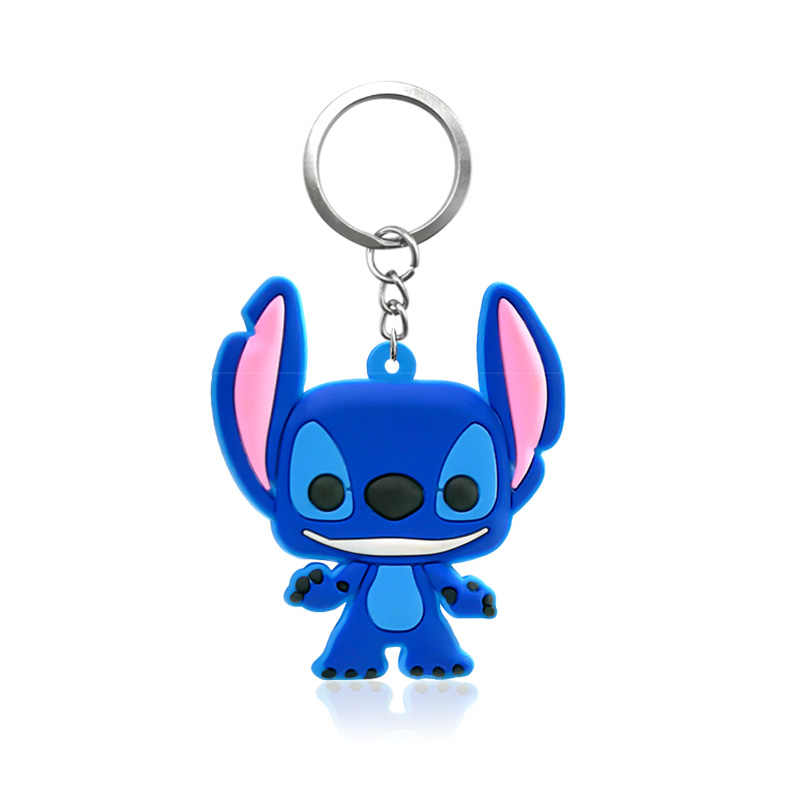 Hot Cartoon 1pc New Style Stich PVC Keychain Key Ring Gift For Women Men PVC Figure Charms Key Chains Jewelry porte clef