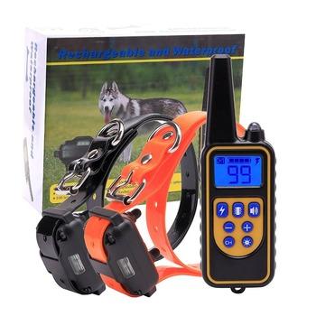 Elektryczna obroża do szkolenia psa 800m Pet zdalnie sterowana wodoodporna ładowalna z wyświetlaczem LCD dla wszystkich rozmiarów obroże Bark-stop tanie i dobre opinie PuPoPan Obroże szkoleniowe Z tworzywa sztucznego