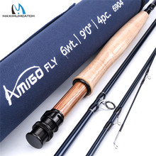 Maximumcatch Amigo Fast Action Fly Fishing Rod 8.6ft/9ft 4-8wt 30T SK Carbon Fiber Fly Rod with Cordura Tube