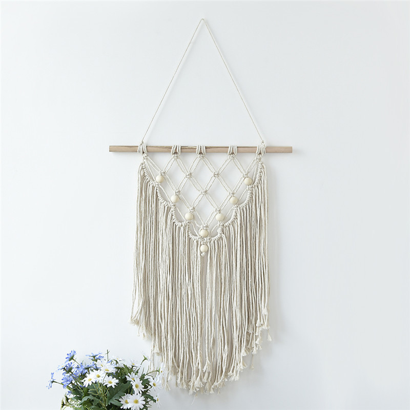 42x58cm Newest Handmade Bead Macrame Wall Hanging Home Decor Retro Handwoven Cotton Thread Craft Unique Home Decoration Supplies