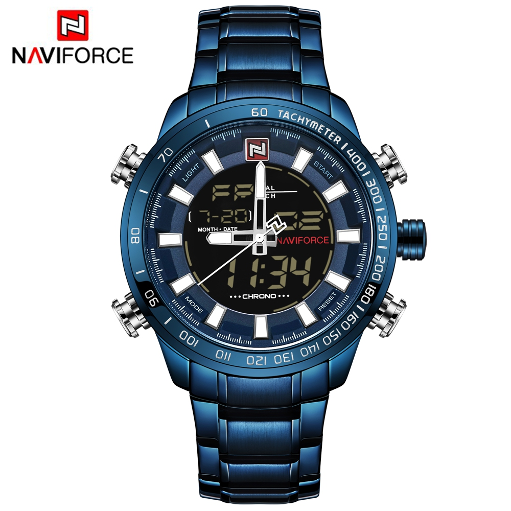 NAVIFORCE Watch Men Quartz Led Dual Display Relogio Digital Watch Stainless Steel Sport Watches for Men Electronic Wrist Watches weide clock men digital double display watch srainless steel bracelets quartz sport 3amt waterproof electronic wrist led watches