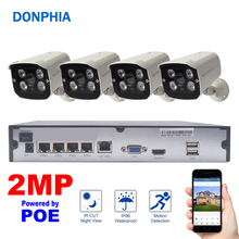 4CH Security System 1080P 4PCS POE IP Camera NVR Kit 2MP CCTV Surveillance System Waterproof Night Vision Phone Watch