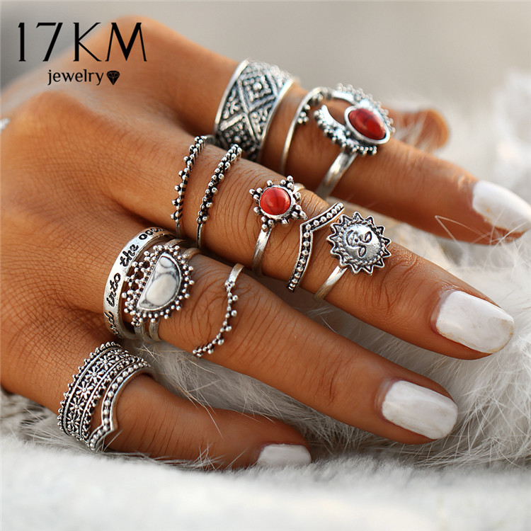 HTB1zca1QXXXXXcKXFXXq6xXFXXXh Hip 14-Pieces Tribal Boho Vintage Silver Moon And Sun Knuckle Ring Set For Women