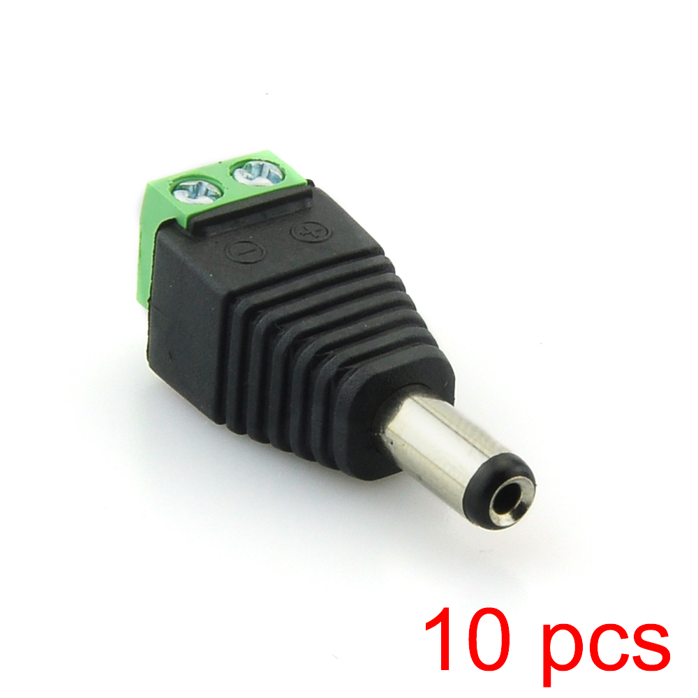 10x DC Male 2.1x5.5mm Power Jack Plug Adapter Connector For CCTV Camera