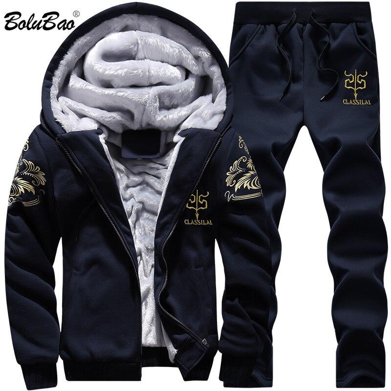 BOLUBAO New Men Set Fashion Brand Tracksuit Lined Thick Sweatshirt + Pants Sportswear Suit Male Winter Suit