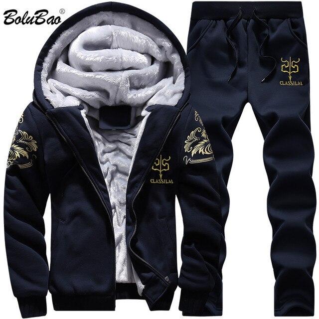 BOLUBAO Nuovi Uomini di Set di Marca di Modo Tuta Foderato di Spessore Felpa + Pantaloni Tuta Abbigliamento Sportivo Maschile di Inverno del Vestito