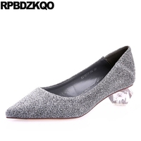 Thick Shoes Glitter Pointed Toe Size 4 34 Silver Ladies Bridal Sequin Sparkling Bling Medium Bride