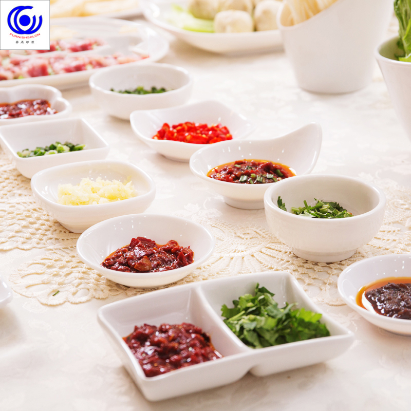 White plastic Melamine Sauce Dish Small Nut Sushi Dessert Bowl Imitation Porcelain Ceramic Seasoning Dipping Tableware