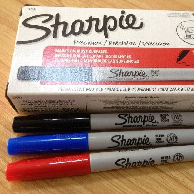 12pcs American Sharpie 37002 Permanent Marker Ultra Fine Point Oil Waterproof Ink Black Blue White Paint Marker Pen Clean Pen