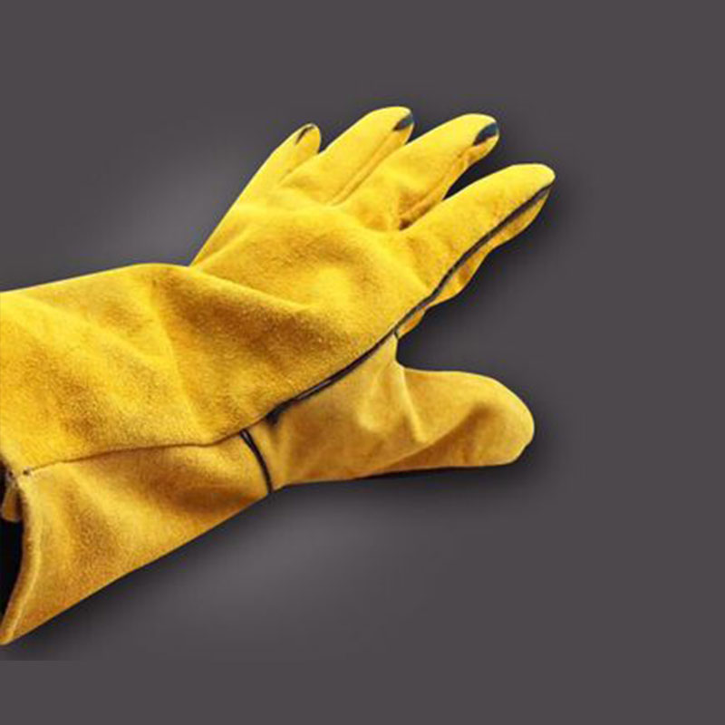 high temperature resistant splash resistant anti cold leather lengthened thickened welding gloves fireproof work safety gloves 1Pair Work Safety Protective Gloves Anti-Cut Cowhide Welding Gloves Fire High Temperature Kitchen Wear-Resistant Microwave Oven