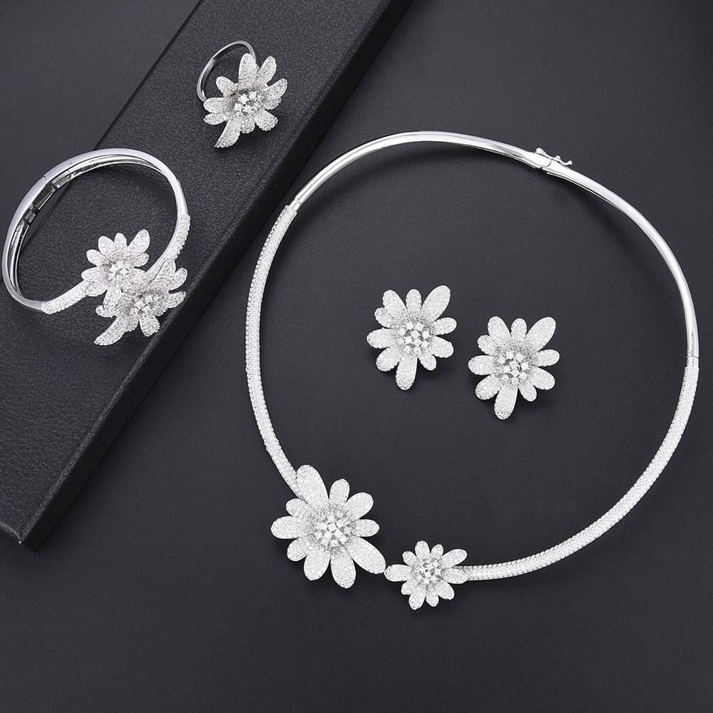 SisCathy luxe cubique zircone couleur argent fleur bijoux ensembles bracelet boucles d'oreilles collier anneau Top qualité à la mode fabrication de bijoux