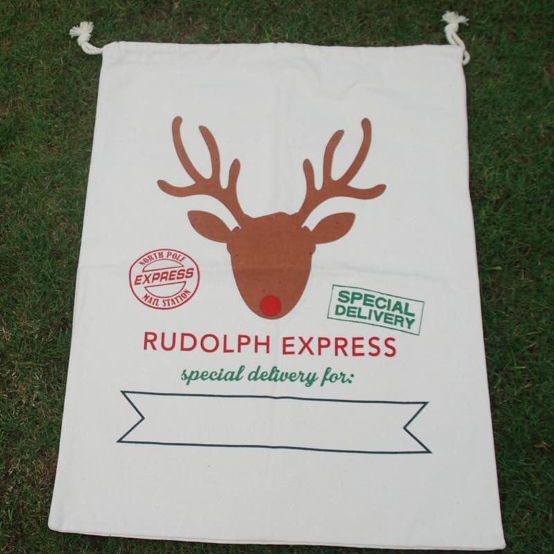 Free Shipping Canvas Blanks Santa Claus Drawstring Bag Monogramable Christmas Gifts Sack Santa Sacks DOM 1010350