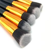 10 Pcs Silver Golden Makeup Brush Set Cosmetics Foundation Blending Blush Makeup Tool Powder Eyeshadow Cosmetic