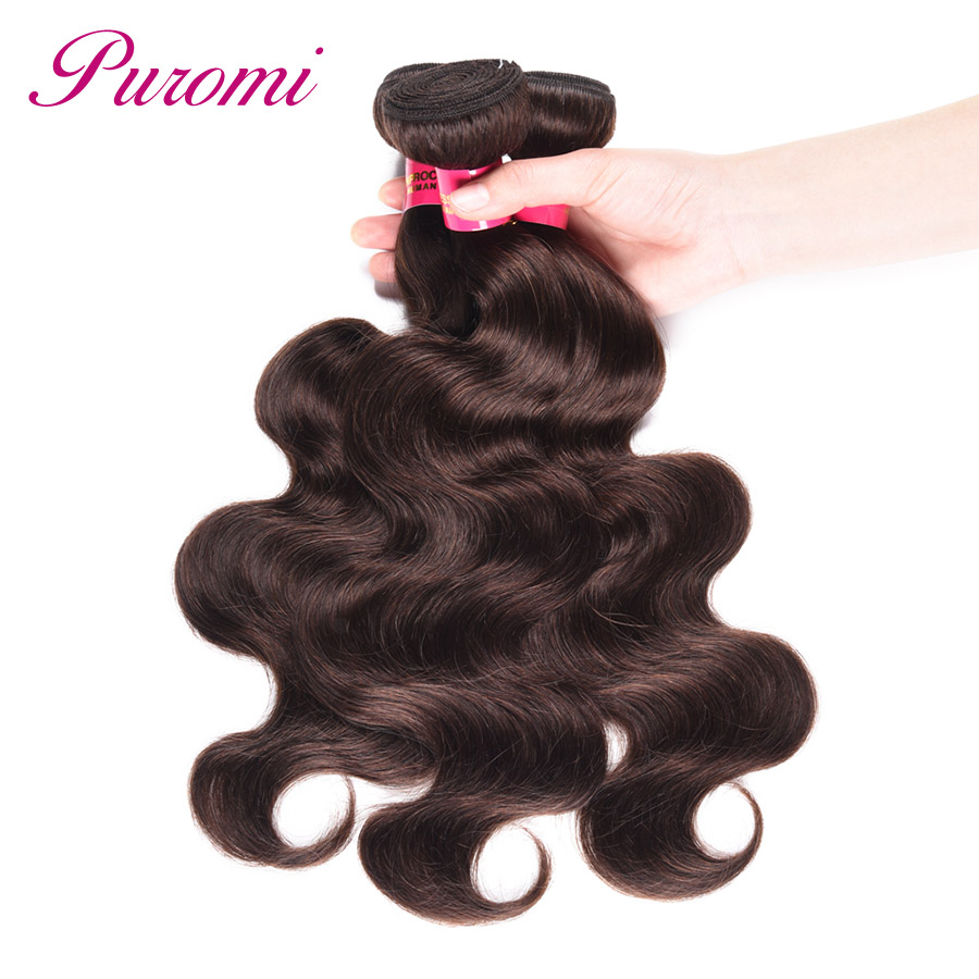 Puromi Brazilian Body Wave 3 Bundle Deals Dark Brown Pre-Colored #2 Hair Extension Non Remy Hair Bundles 10-24 inches in Stock