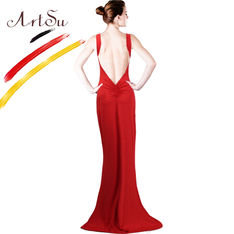 Gratë me stil të verës ArtSu Fustan të gjatë pa veshje pa ngjyrosje seksi të kuqe të zezë Veshja rastësore dysheme me gjatësi Vestidos de festa Longo 8069