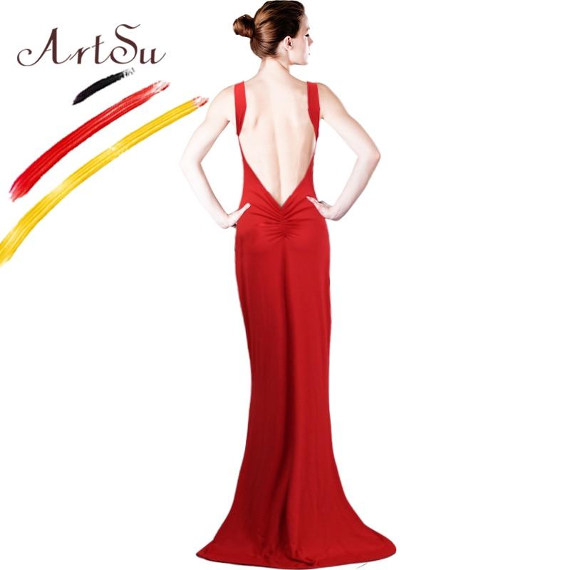 ArtSu Summer Style Women Long Dress Backless Dress Sexy  red white black Casual dress Floor-Length Vestidos de festa Longo 8069