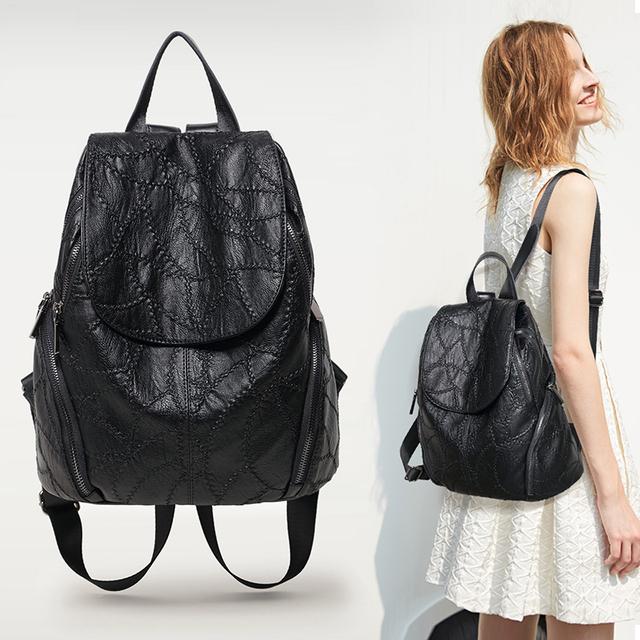 Nuleez genuine sheepskin leather embroidery backpacks women muti-pocket large capacity casual style 2019
