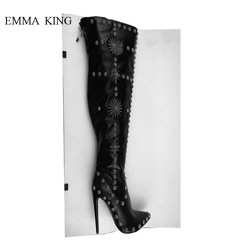 Botas Mujer Rivets Studded Embroidery Cross Riding Boots Woman Knee High Boots Cool Pointed Toe Thin High Heels Women Shoes