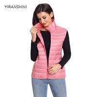 YIRANSHINI מגיעים נשים חדשות ורוד כותנה צווארון מנדרינה למטה אופנה אפוד כיסים מוצקים מזדמנים לשמור על חם נשים Vest LC85127