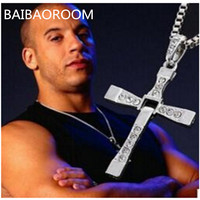 2015 Men Jewelry Gifts The Fast And The Furious Toretto Cross Necklace Fashion Long Necklaces 0065